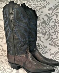 Women's Panhandle Slim Western Cowboy Boots Black Blue Leather 6.5 B # 379
