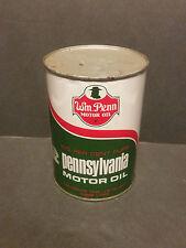 Vintage Original Wm Penn Motor Oil Can Quart Metal Cleveland Ohio 1 Qt FULL