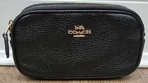 COACH Black Shined Pebbled Leather Gold Tone Small Clutch Crossbody Shoulder Bag