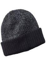 *NEW Charcoal Reversible Cuffed Winter Beanie Ski Cap Skull Cap Hat Black & Gray