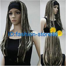 fashion sexy women lady girl mixed Brown long braided full wigs + free wig cap