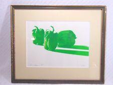 Vintage Modern Kitchen Restaurant Art Green Peppers Serigraph Len Johnson 1975