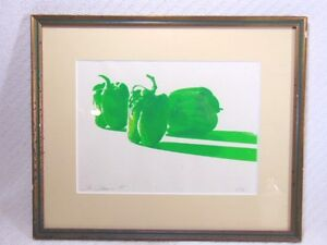 Vintage Modern Kitchen Restaurant Art Green Peppers Serigraph Len Johnson 1975