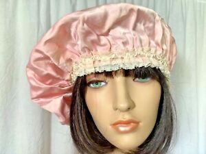 Vintage pink Satin night Curler mob Cap lace Soft beret Victorian costume Hat