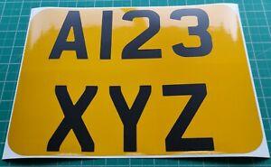 Rear Square Vinyl Reflective Number Plate Stick On 4x4 Trailer Van Caravan