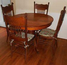"""Antique 42"""" Round Oak Table and 4 Chairs"""