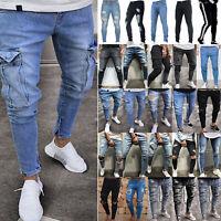 Mens Skinny Jeans Joggers Destroyed Distressed Frayed Biker Trousers Slim Pants