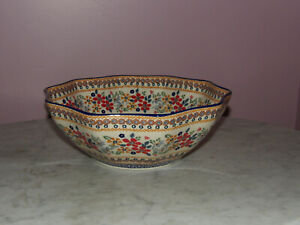 Polish Pottery Medium 10-Sided Bowl! UNIKAT Signature Rembrandt Pattern!