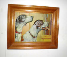 Vintage Picture English Pointer Dogs Dimensional Heads in Wood Frame