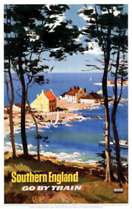 Vintage Southern England Go By Train Art Print Railway Travel Poster A1/A2/A3/A4