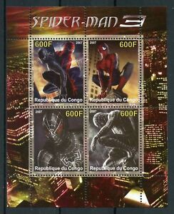 Superheroes Stamps 2007 MNH Spiderman Spider-Man 3 Movies Film Animation 4v M/S