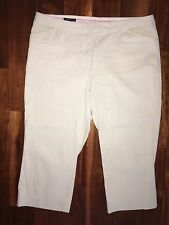 Lands' End Women's Crop Style Capri Pants Size 18 Tan & White Stripe Seersucker