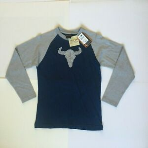 Ariat Boys Large (14) Long Sleeve Heather Gray/Black Skull T-Shirt NWT
