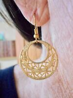 Authentic Vintage 1980's Gold Tone Filigree Dangle Earrings
