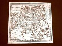 Asia, India, Russia Settecentina Carta geografica mappa del 1750 Rob.De Vaugondy