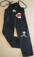 Sz 11/12 Zara Girls Overalls Distressed Denim Black Snoopy Patches Denim Peanuts