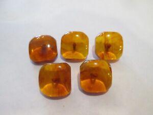 "5 Bakelite Applejuice Amber Semi Translucent Swirl 3/4"" Dome Octagon Buttons"