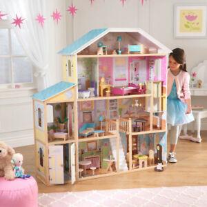 NEW KidKraft Majestic Mansion Wooden Dollhouse   Kids Dolls Playhouse   34 piece