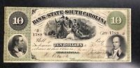 1861 $10 Bank of South Carolina No. 1789 cancelled note AU see photos  C-1645
