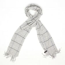 Enzo Mantovani Mens Cashmere Scarf Light Gray Glen Plaid Windowpane Fringe