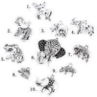 10Pcs Tibetan Silver Elephant Shape Charm Pendant DIY Jewelry Making Accessory