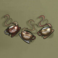 Coffee House Cup Mugs Set of 3 Latte Java Mocha Metal Wall Art Home Decor New US