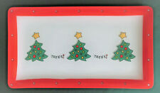 Fitz and Floyd Essentials Merry Christmas Trees! Trees! Glass Tray