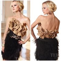 NWT TERANI COUTURE 11071C COCKTAIL MINI DRESS  WITH REFFLED TOP BLACK/GOLD $598