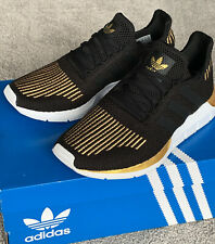 NIB Adidas Swift Run Black Gold Running Shoes Sneakers Womens 6.5
