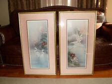 Vintage Lena Liu Signed Prints in Frames, Large Asian / Bird Theme - Beautiful!