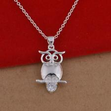 Lady Girl Necklace Silver Plated Owl Pendant Jewerly