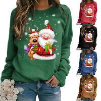 Women Casual Christmas Printed Long Sleeve Sweatshirt Pullover Shirts Top Blouse