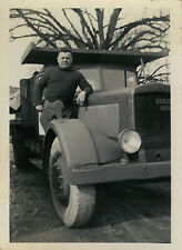 PHOTO ANCIENNE - VINTAGE SNAPSHOT - CAMION BERLIET CHANTIER - TRUCK MAN
