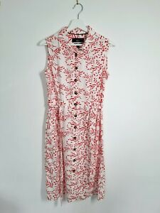 Paul Costelloe Linen Blend Shift Dress UK S White Red Sleeveless Buttondown Tie