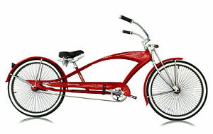 """RED 26"""" Stretch Beach Cruiser Bicycle 68 Spokes Rims Coaster Extended Bike PUMA"""