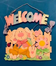 Wooden Hanging Welcome Sign Easter Pastel Colors Welcome Anytime