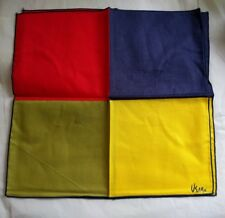 2 Vera Neumann Linen Napkins Colorblock unused NEW NOS