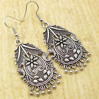 "HAND CARVED Earrings 1 7/8"" ! Silver Plated Over Solid Copper WOMEN'S Jewelry"