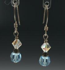 Aurora Borealis & Blue Crystal Faceted Beads Sterling Silver Drop Earrings 1.5g