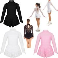 Girls Kids Ballet Dance Dress Lace Leotard Long Sleeve Skirt Ballerina Costume