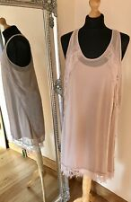 THE KOOPLES Nude Blush 100% Silk Lace Sleeveless Dress XL Boho Festival Party
