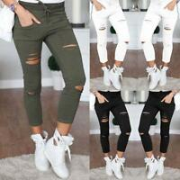 AU Womens High Waisted Skinny Ripped Denim Pants Slim Pencil Jeans Trousers NG
