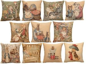 BEATRIX POTTER PETER RABBIT BELGIAN TAPESTRY CUSHION COVERS WITH ZIP, LICENCED