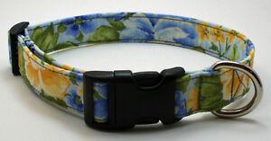 Floral Blue & Yellow Dog Collar Adjustable Handmade Custom Designer
