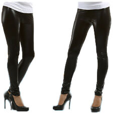 Black Womens Shiny WET LOOK Leggings Full Ankle Length Tight All Sizes UK New