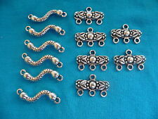 12 Connectors Tibetan Silver 2 Types + 30 Mixed Tibetan Beads Free