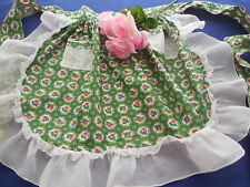 Vintage Green Half Apron w/ Pink Roses & Organza Frills by T-Time Apron Co