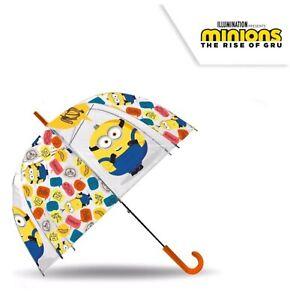"Licensed 18"" Minions Auto Dome Umbrella Wipeable Polyester Fabric Kids Gift"