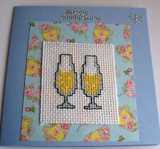 """Wedding Anniversary Card Completed Cross Stitch Chanpagne Flutes 5.5""""sq"""