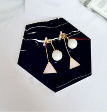 Fashion Korean Vintage Pink/Blue Triangle Ear Stud Earrings for Women New